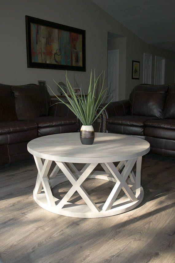40 Round Rustic X Brace Coffee Table Furniture Farmhouse Style