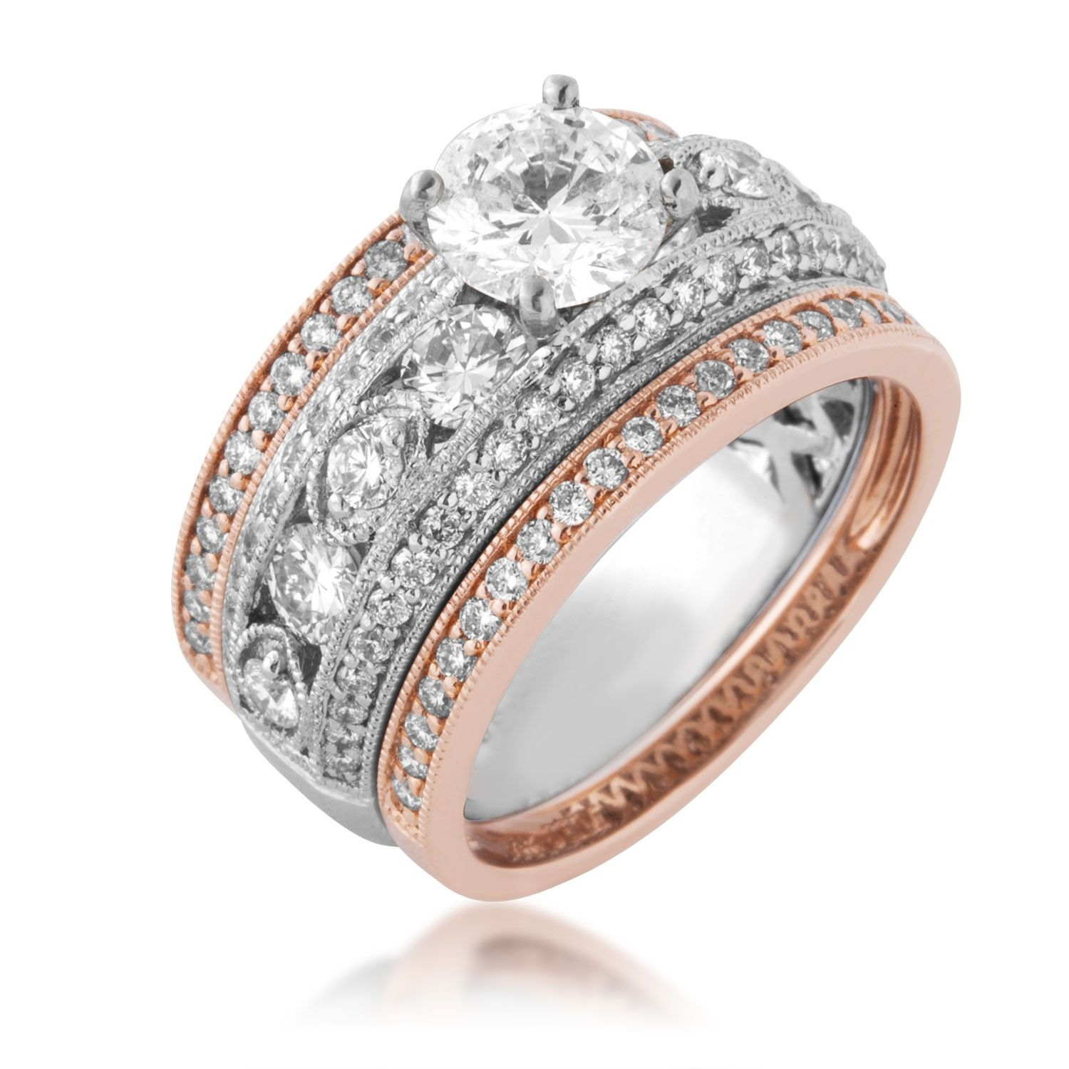 La s White Diamond Bridal Set Ring in Pink and White Gold