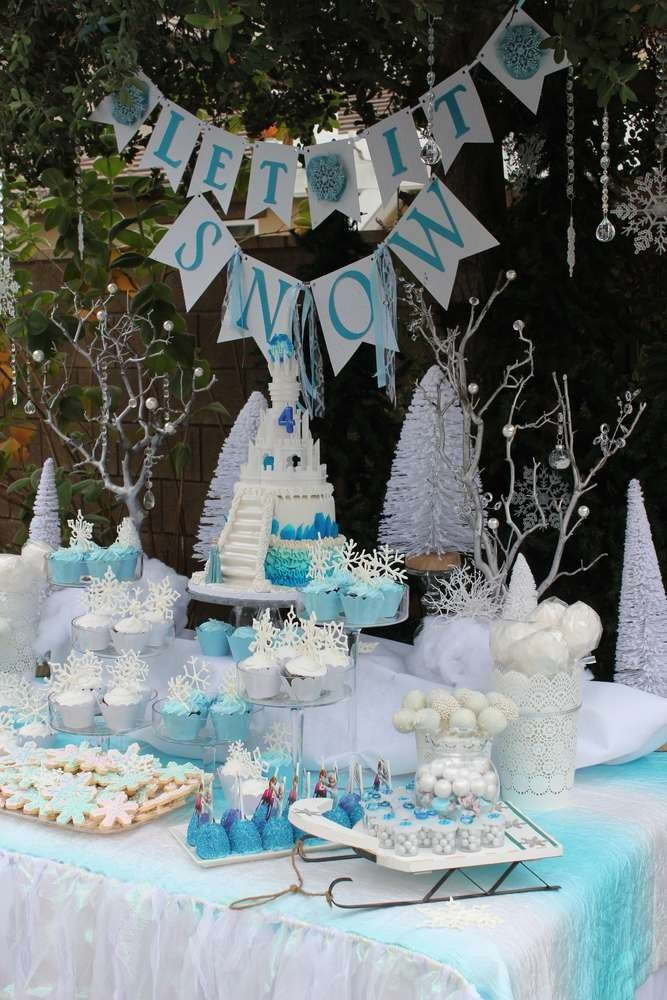 2014 halloween frozen birthday party tables 2014 disney ideas decor - Frozen Halloween Decorations