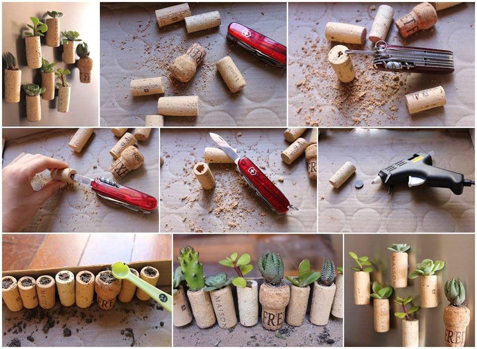 Diy mini garden cork planters cork planters