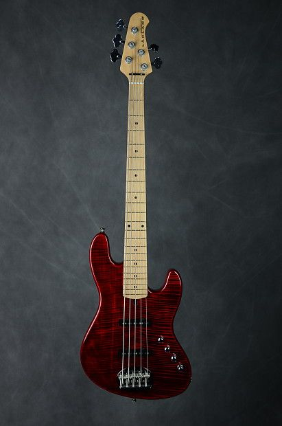 bc6947c3ad Used Lakland 2011 Skyline 55-AJ 5-string Bass with Transparent Red Figured  Maple top body, Bolt-on Korean Maple neck & fretboard, Honey upgraded with  Badger ...