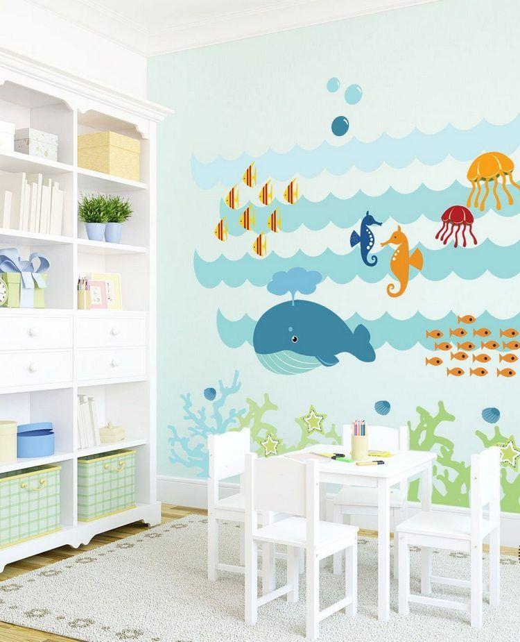 Sticker mural chambre bébé à thème animaux de la mer mignons