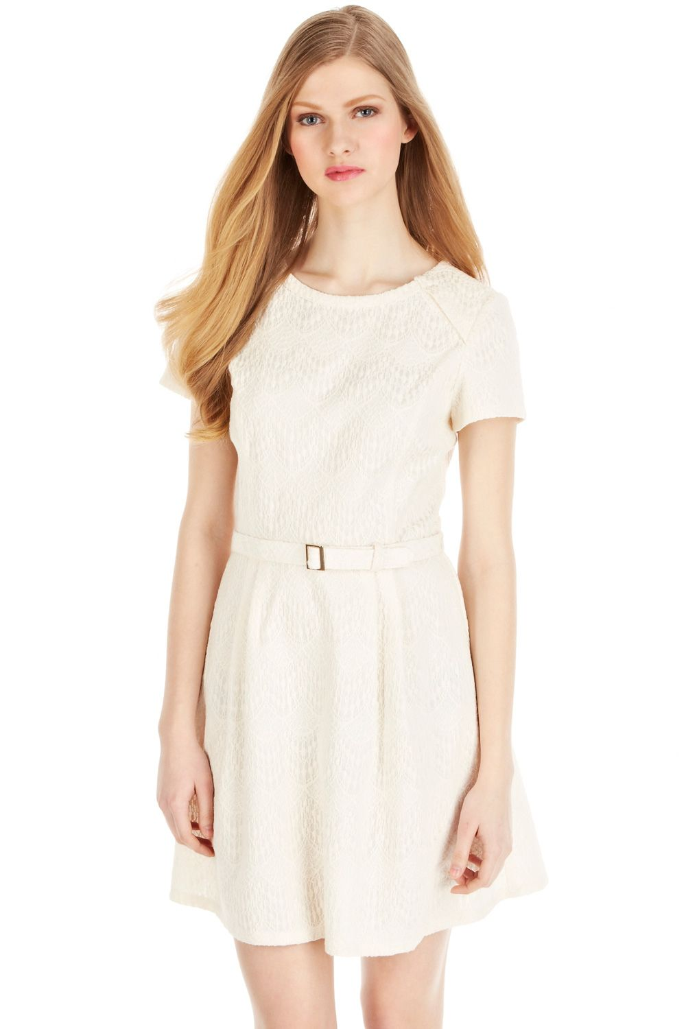 Cotton Bonded Dress   Natural   Oasis Stores