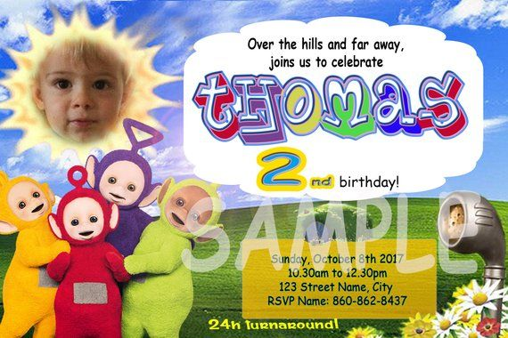 Teletubbies Invitation With Picture Free Thank You Card