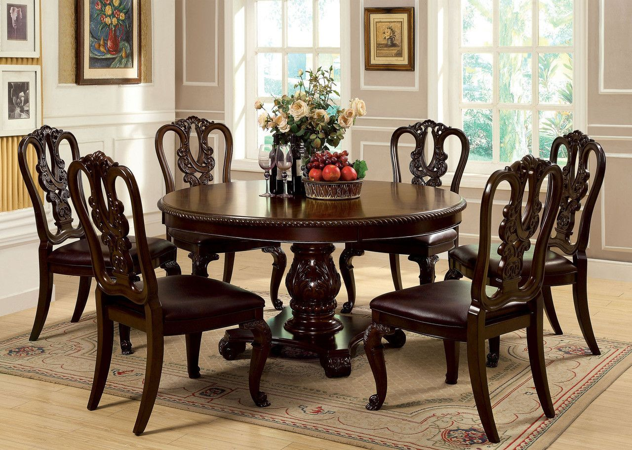 7 Pc Bellagio Ii Collection Brown Cherry Finish Wood Round Pedestal Dining Table Set With Open Back Chairs