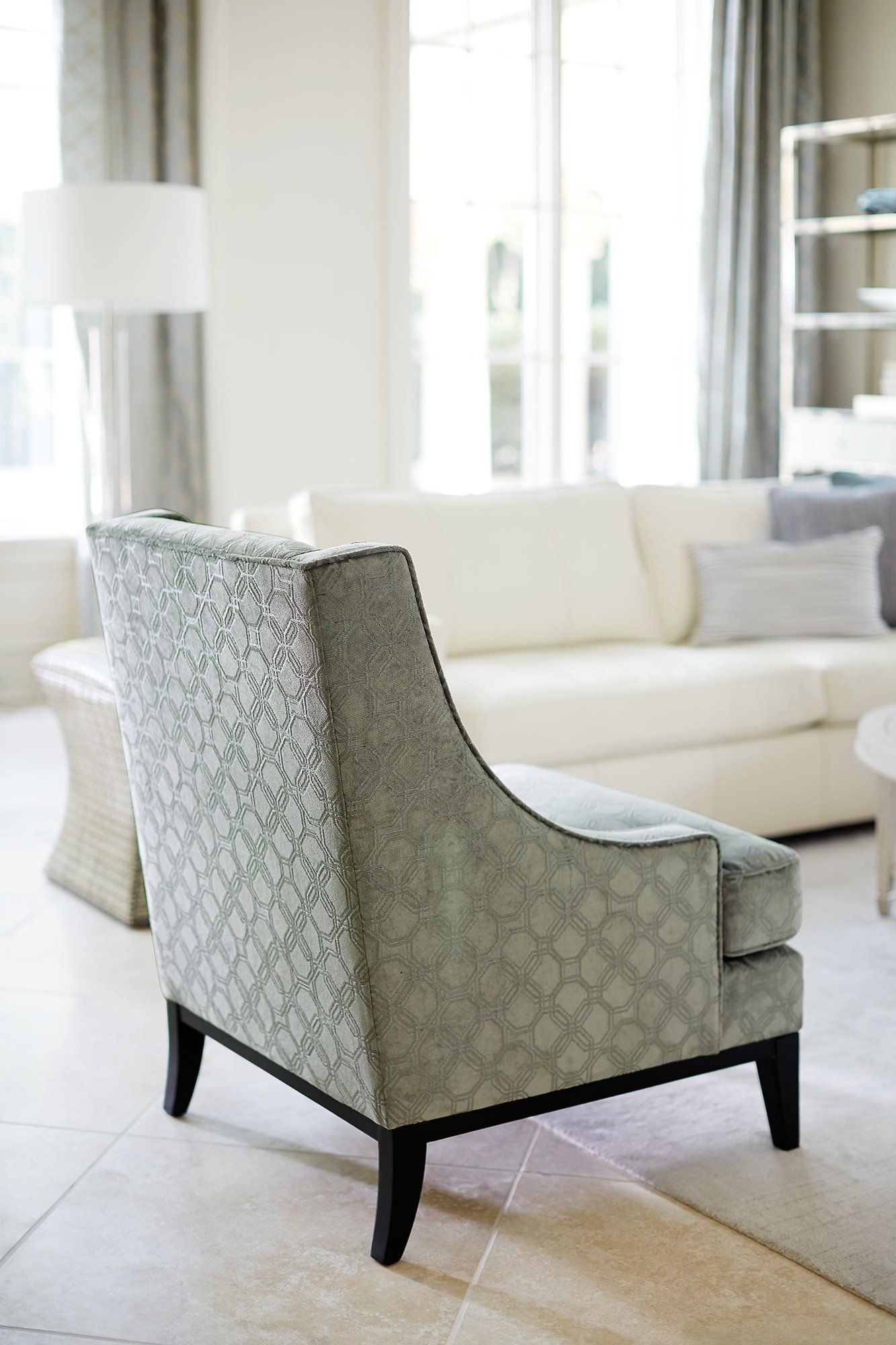 Bernhardt Lancaster Chair in a pale blue woven