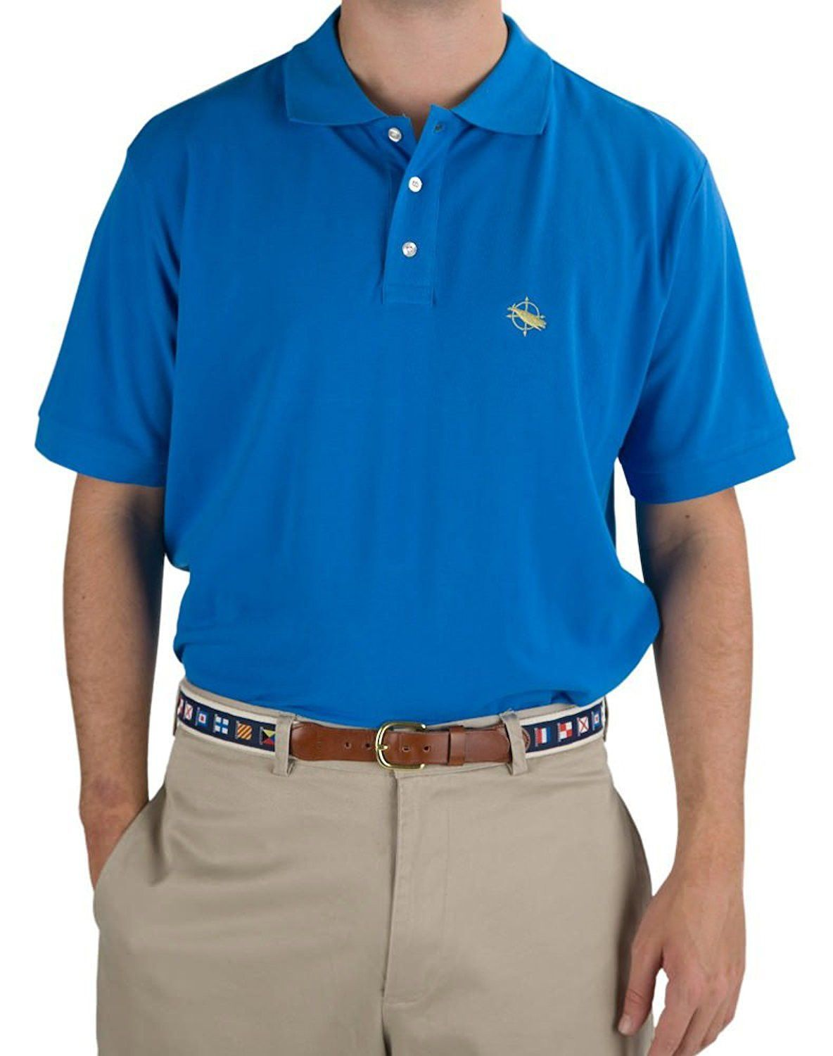 Mens Classic Pique Polo Shirt With Whale Compass Logo Products