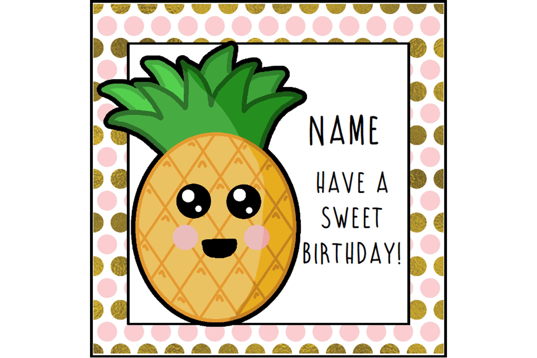 Pineapple Birthday Card Funny Card Birthday Greeting Food Lover