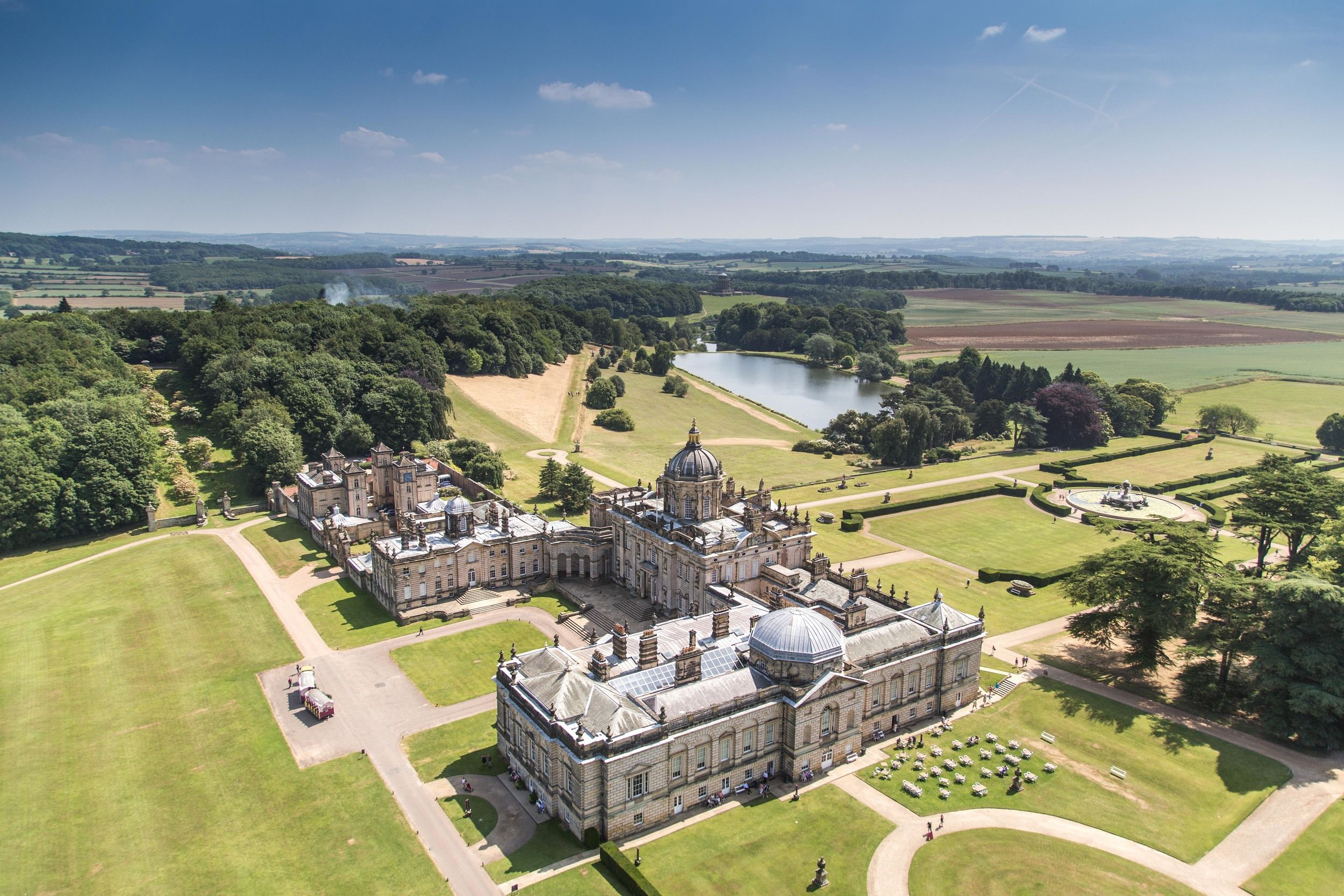Castle Howard aerial view to Gallery Chapel wing