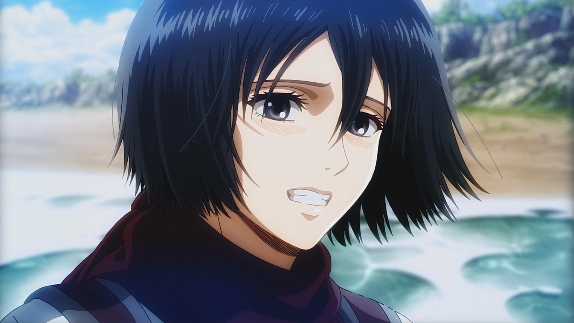 Mikasa Smiles On The Sea Attack On Titan Anime Attack On Titan Mikasa