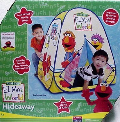 Playhut Sesame Street Elmo's Elmos World Hideaway Pop Up Tent by Playhut. $22.10. Flap door entrance. See-thru mesh windows. Created from durable and soft non-woven materials.. Playhut Sesame Street Elmo's Elmos World Hideaway Pop Up Tent : Elmo & Friends are waiting for young kids to join them in their Hideaway. Displaying the beautiful images of Elmo & Friends, this regal play environment features a flap-door entrance, as well as a crawl-through tunnel port that can con...