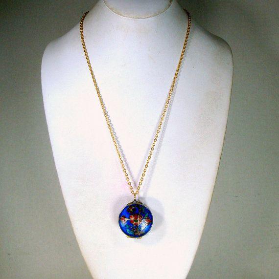 Cobalt Cloisonne Pillbox Pendant on Chain by VintageStarrBeads