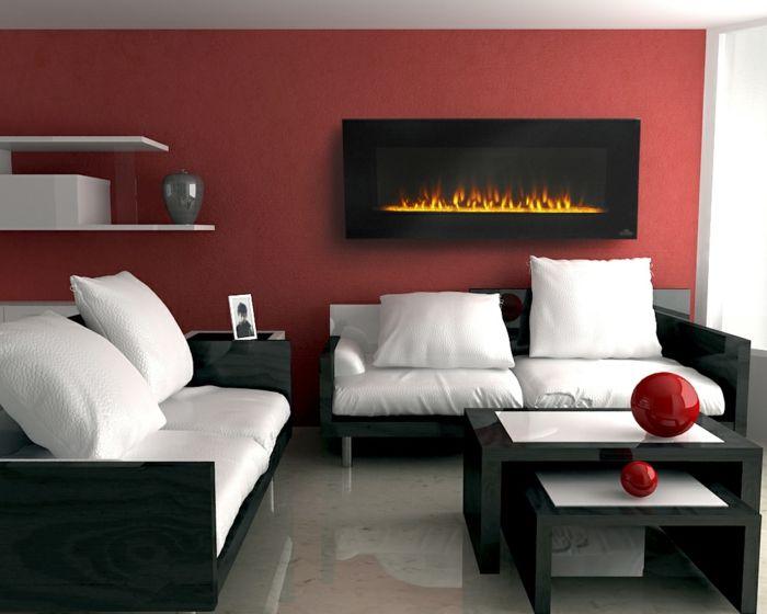 Wandgestaltung Ideen Rote Wand Weiße Dekokissen