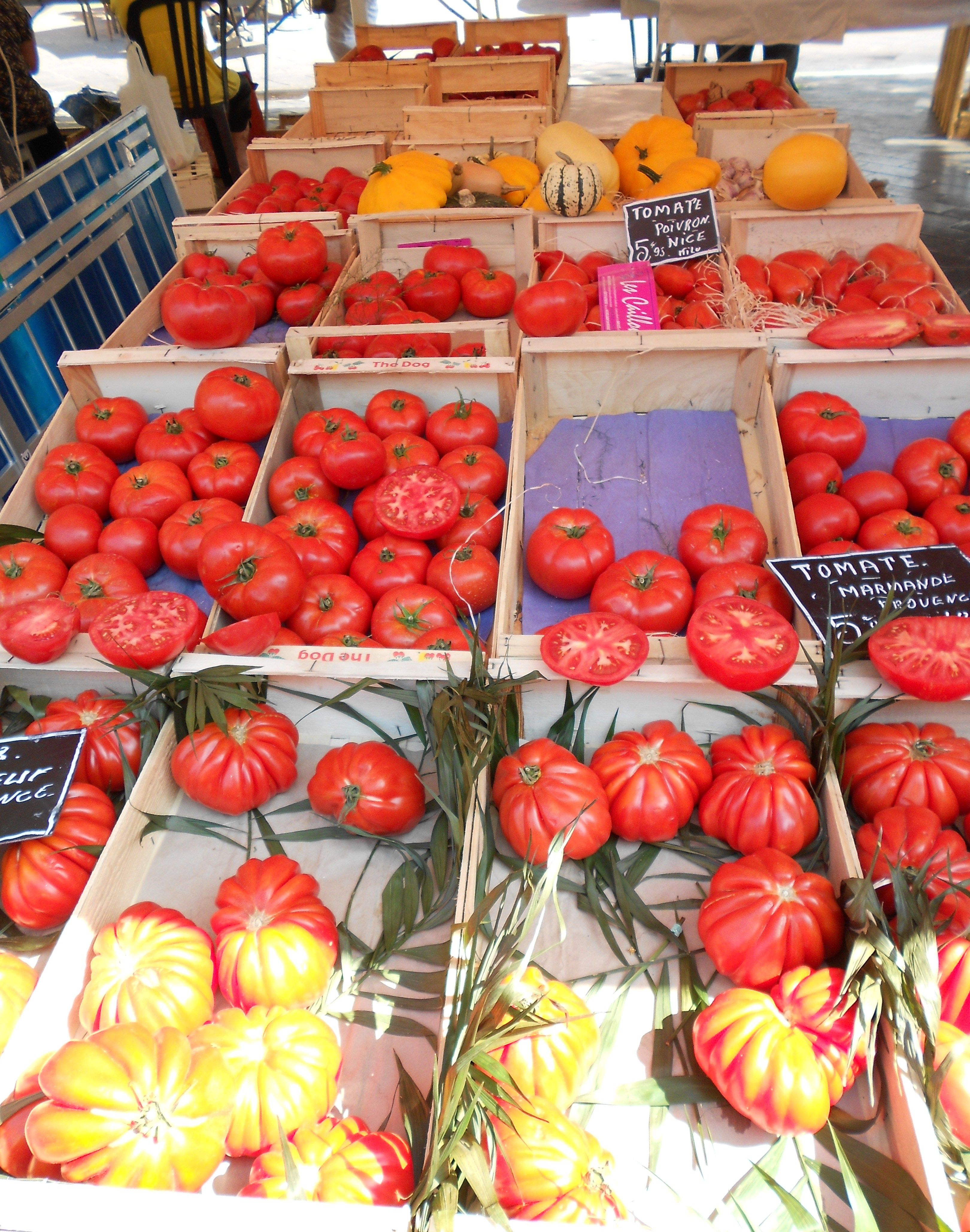 Shopping at the local market in Nice, France.