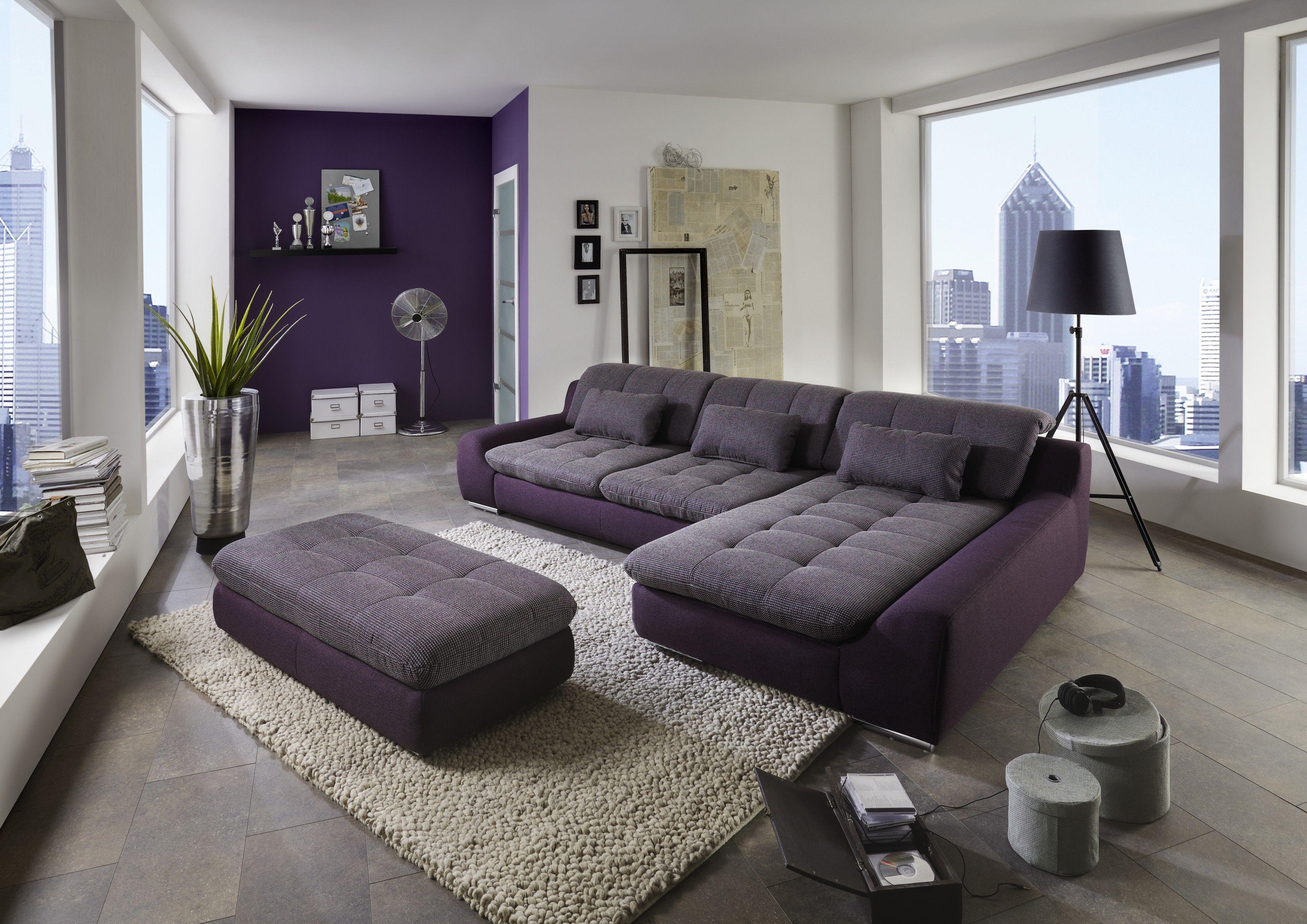 wandgestaltung wohnzimmer aubergine : Wohnlandschaft In Webstoff Aubergine Lila Woody 80 00026 Polyester