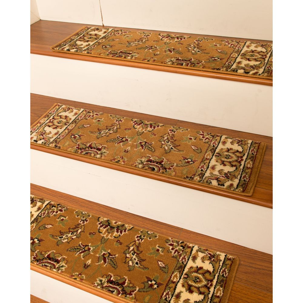 Enrich your home with the luxurious elegant feeling of these stair treads. Made from soft polypropylene, these gorgeous patterned chestnut accent rugs are stain resistant and durable.