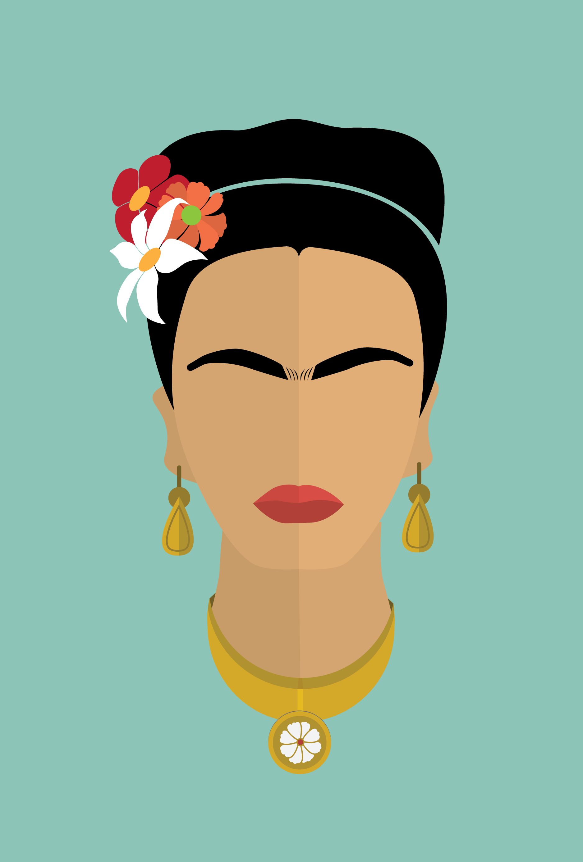 Frida Kahlo Icon Print Original Design Ilustracao De Rostos Ilustracoes Graficas Pinturas De Praia Em Tela