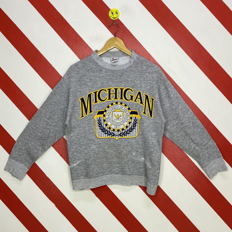 Vintage 90s Michigan Wolverines Sweatshirt University Michigan Etsy Sweatshirts Carolina Panthers Sweatshirt Print Logo [ 3000 x 3000 Pixel ]