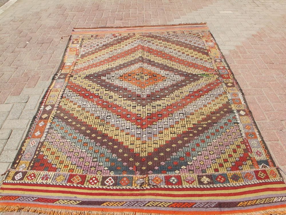 Turkish Handwoven Striped Antalya Kilim Natural Wool Rug Carpet 94 0 X66 9