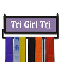 Our exclusive wall hanger featuring our Tri Girl Tri design is made from hand-forged steel and features a customized printed wood insert.