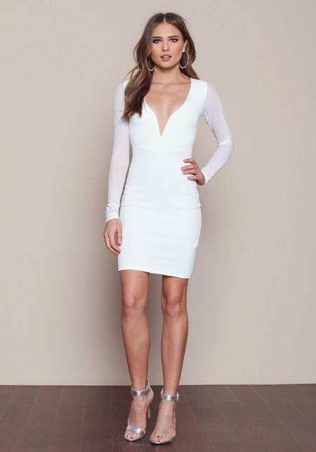 c3a9f045ca9 Ivory Plunged Bodycon Dress - LoveCulture.com