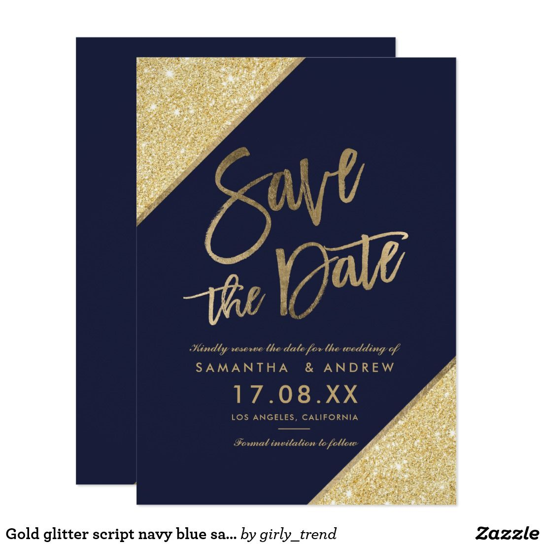 Gold Glitter Script Navy Blue Save The Date Zazzle Com Gold Save The Dates Blue Save The Dates Save The Date Cards