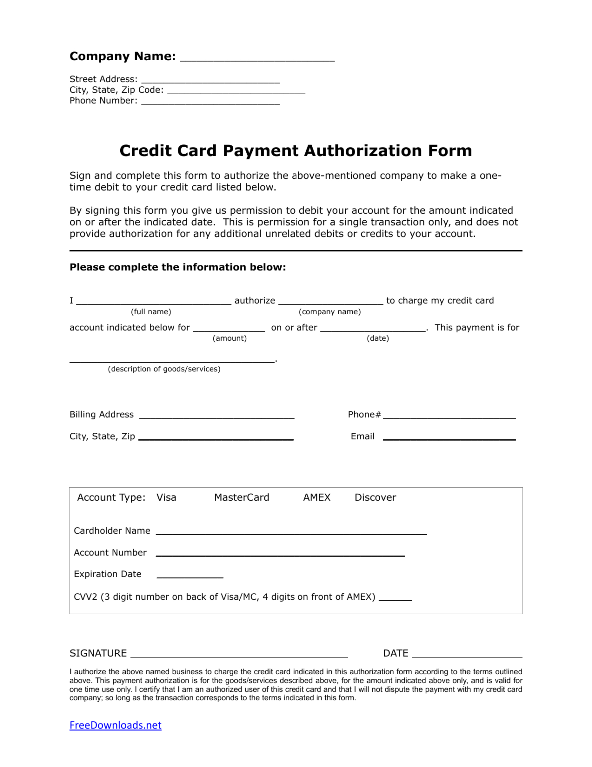 Download One 1 Time Credit Card Authorization Payment Form In Credit Card Authorization Form Template Word Credit Card Payment Credit Card Card Template