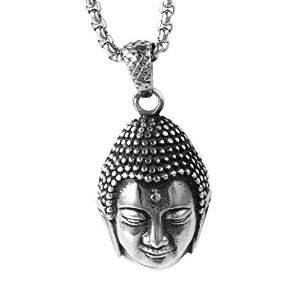 Pendant Material:Stainless Steel Pendant Size Reference:25mm*25mm&Pendant Net Weight:13g Pendant Shape:Buddha Head&Matching Chain Necklace Pendant Style:Vintage&Fit For Mens Pendant Packaging By Valvet Bag