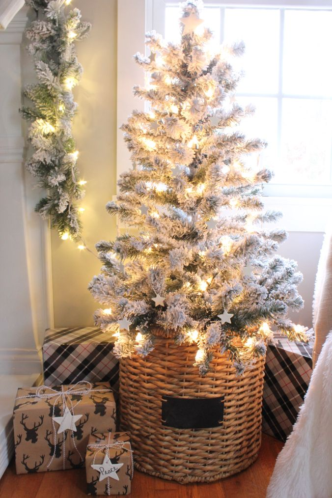 Love This Simple Flocked Christmas Tree In A Natural Basket Christmas Tree In Basket Classy Christmas Decor Pink Christmas Decorations