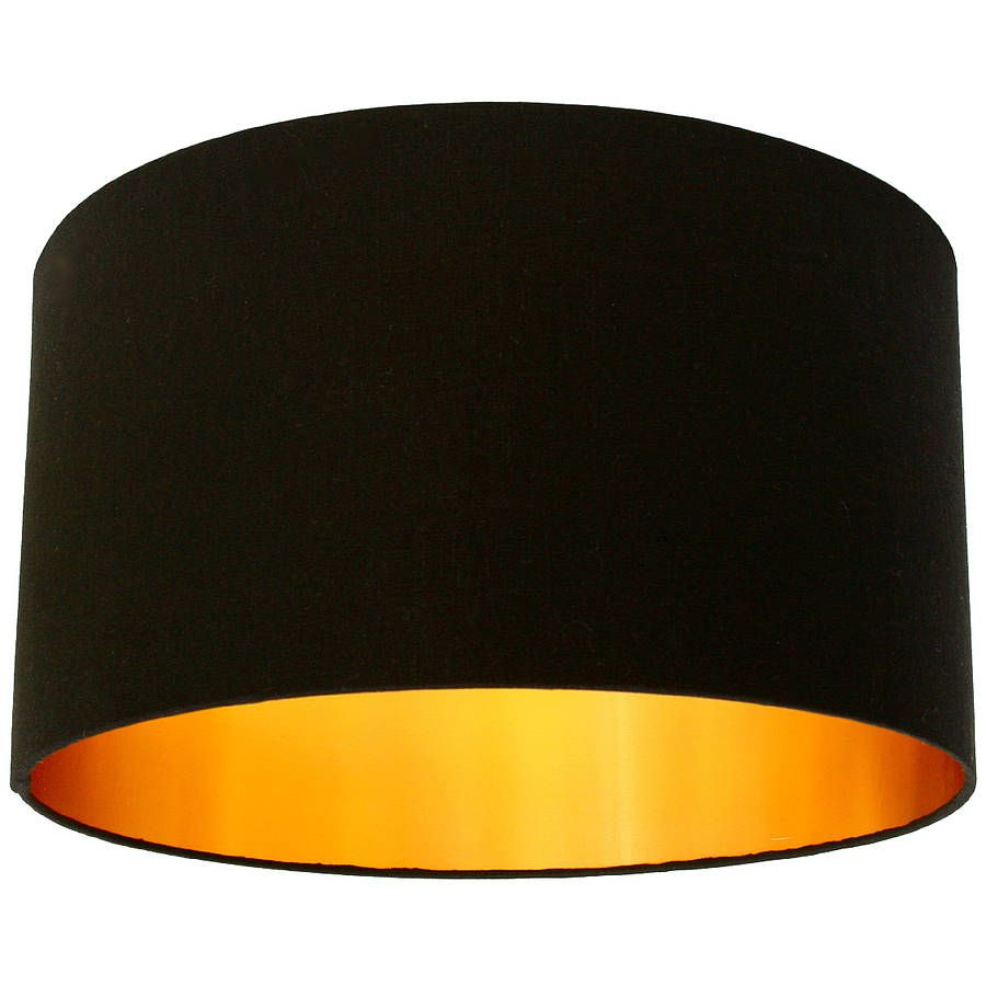 Black Cotton Lampshade With Gold Lining