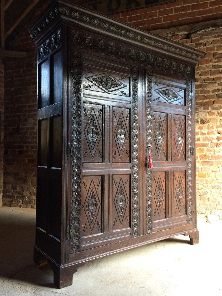 Antique 17th Century Style Oak Livery Hall Cupboard Circa 1790 Hall Cupboard Antique Hall Tree Antiques