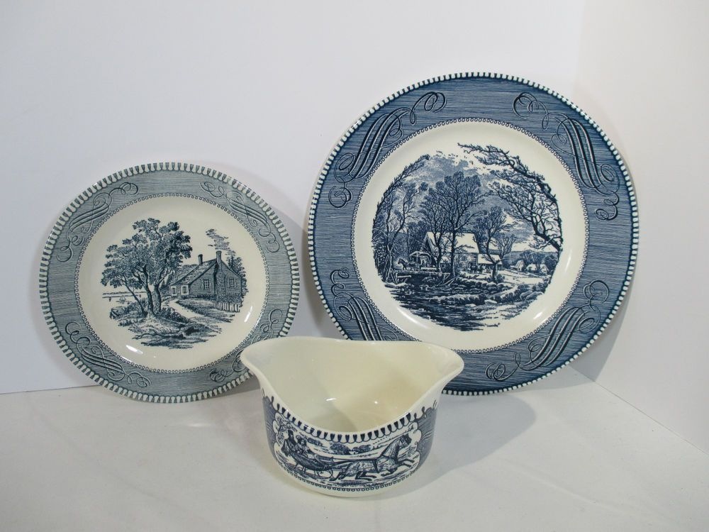 Currier Ives Blue Gravy Boat Plate Dinner Salad Washington Royal China Lot of 3 #RoyalChina