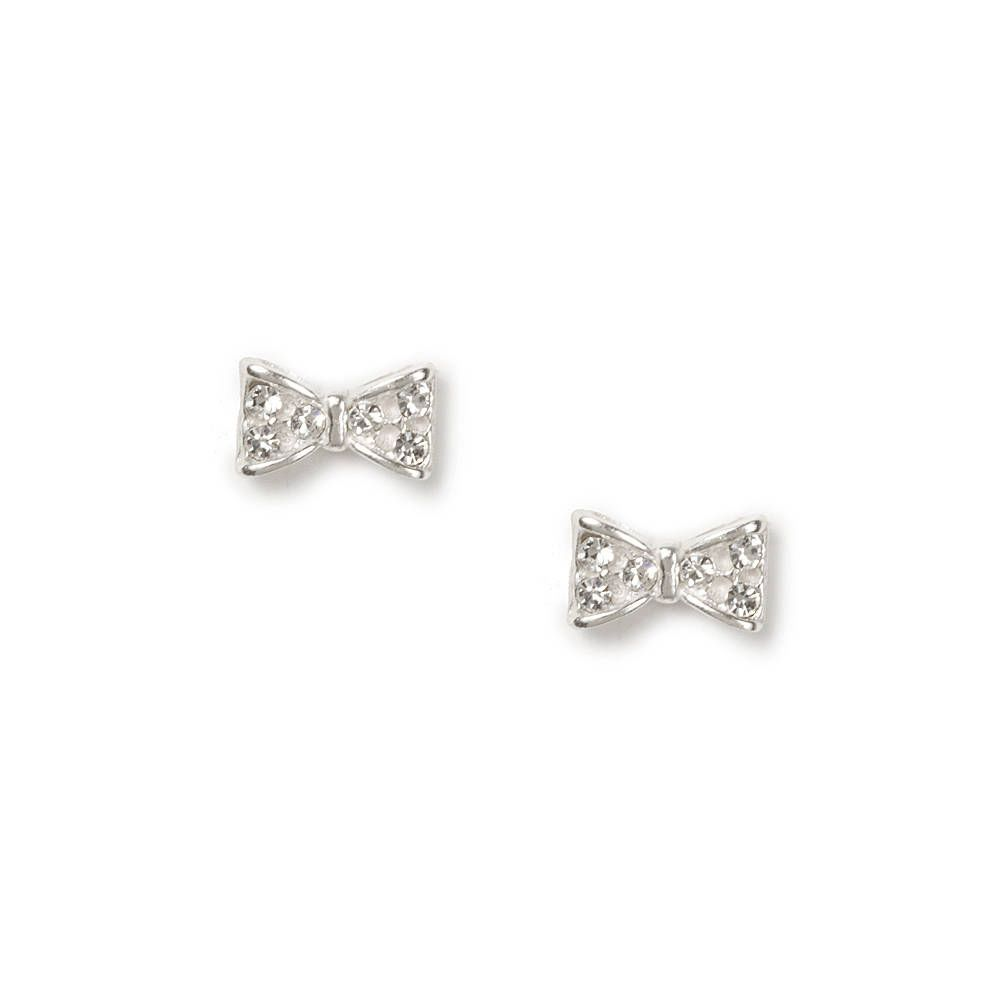 42bdfc765 Claire's Sterling Silver Pavé Crystal Bow Stud Earrings in 2019 ...