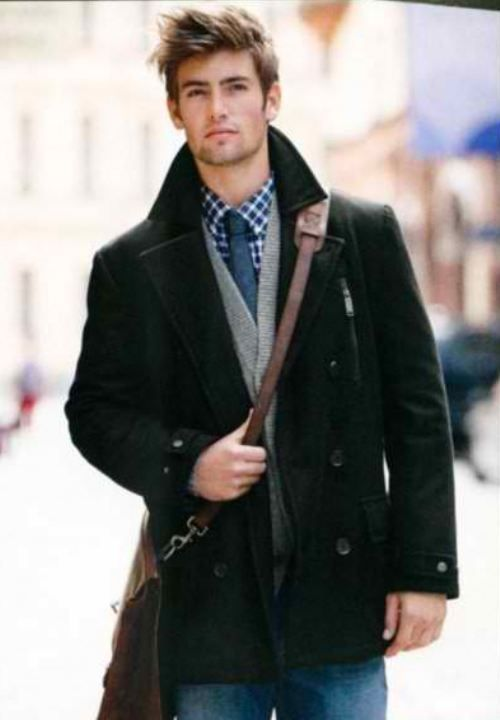 Men's Black Pea Coat, Grey Cardigan, Navy Gingham Long Sleeve ...