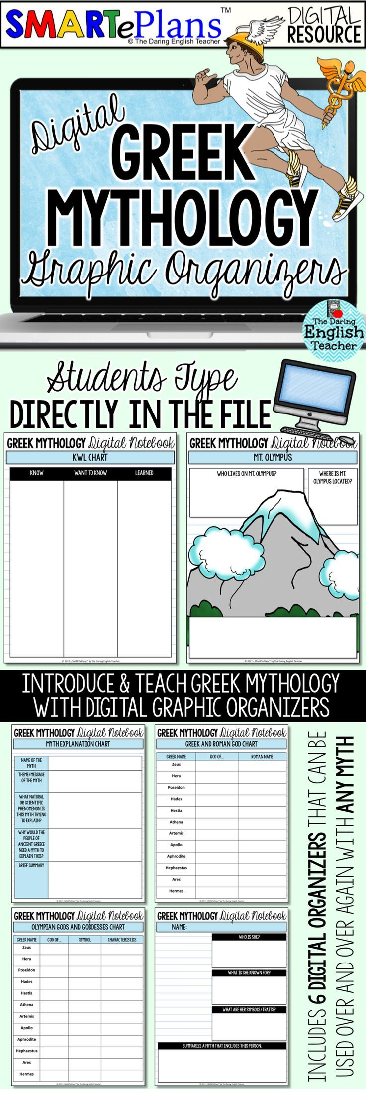 worksheet Greek Mythology Worksheets smarteplans digital greek mythology graphic organizers go with these organizers