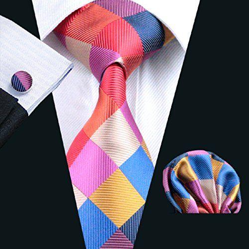 CAOFENVOO N-0216 Pink Plaids Checks Necktie Hanky Cufflinks