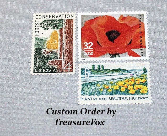 Reserved Custom Order for Rachel. Unused Vintage US Postage Stamps for mailing wedding invitations by TreasureFox on Etsy