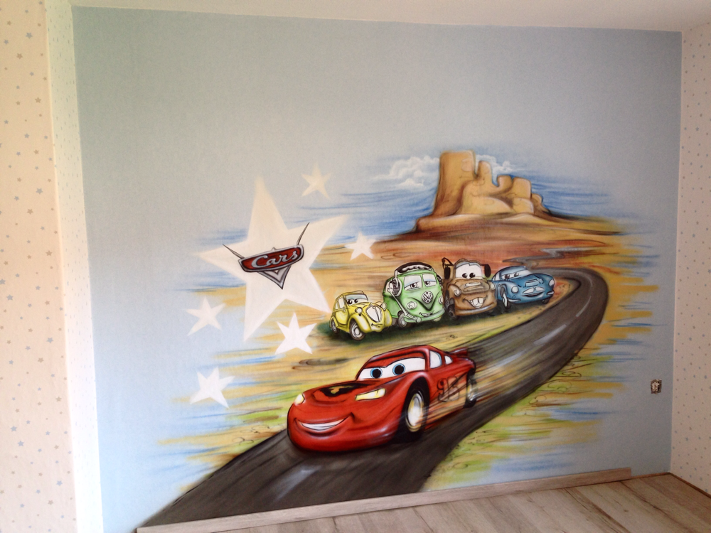 Wandmalerei kinderzimmer cars disney cars murals for Cars kinderzimmer