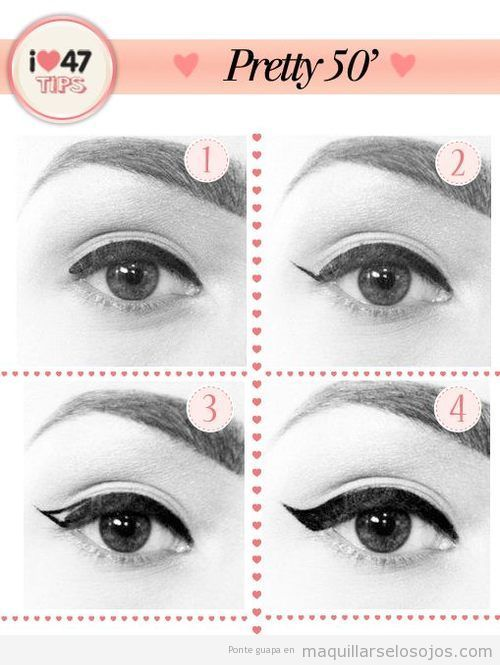 Tutorial pintar linea perfilador ojos estilo años 50 | Make up ...