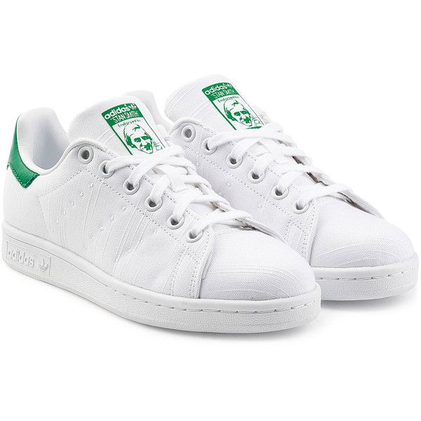 Adidas Originals Stan Smith Embroidered Canvas Sneakers ($82) ? liked on  Polyvore featuring shoes