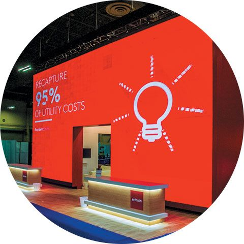 Entrata's Big Red Booth—To announce a company name change and product launch, Entrata Inc. thinks inside the box. Employing a 1,600-square-foot, blazing-red cube, along with a bevy of high-profile on- and off-floor tactics, the firm scores show-wide recognition, a 70-percent uptick in social-media activity, and a 102-percent increase in sales opportunities compared to the previous year; Details>