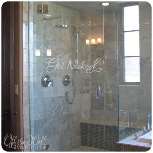 Bathroom shower door etched glass get naked vinyl lettering decal sticker