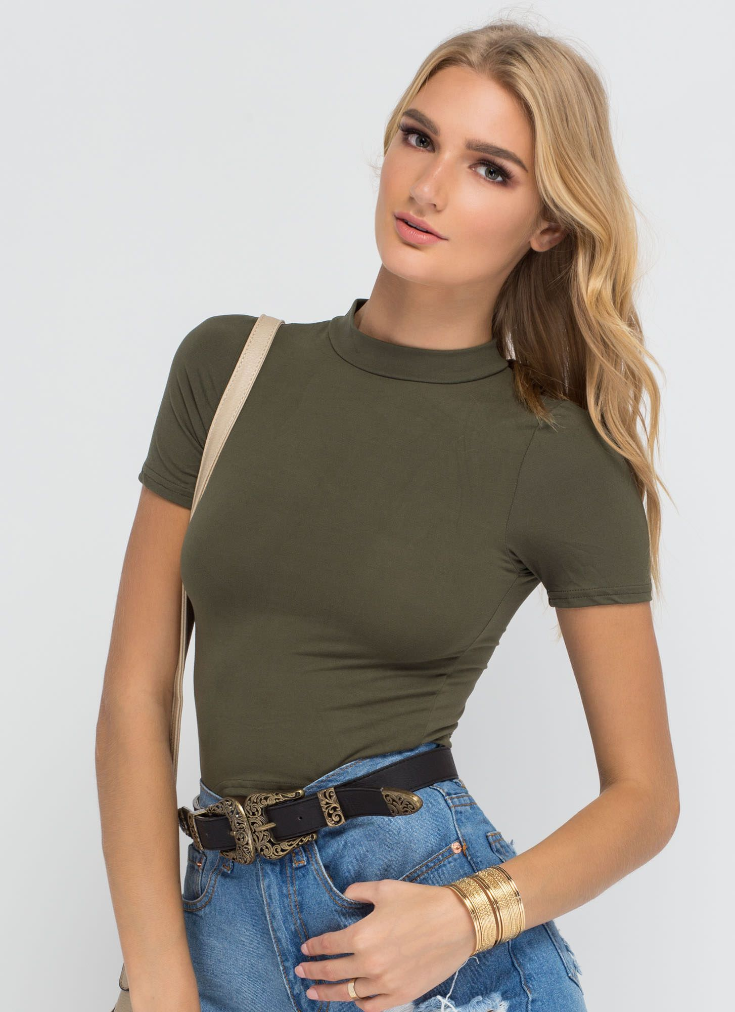 Basic Foundation Mockneck Crop Top OLIVE