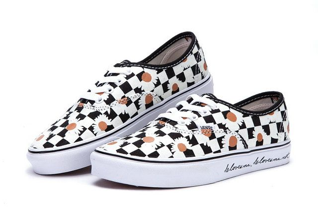 90b83025798 Vans Authentic Checkerboard Daisy Flowers Print Black White Era Skate Shoes   S503407  -  39.99   Vans Shop