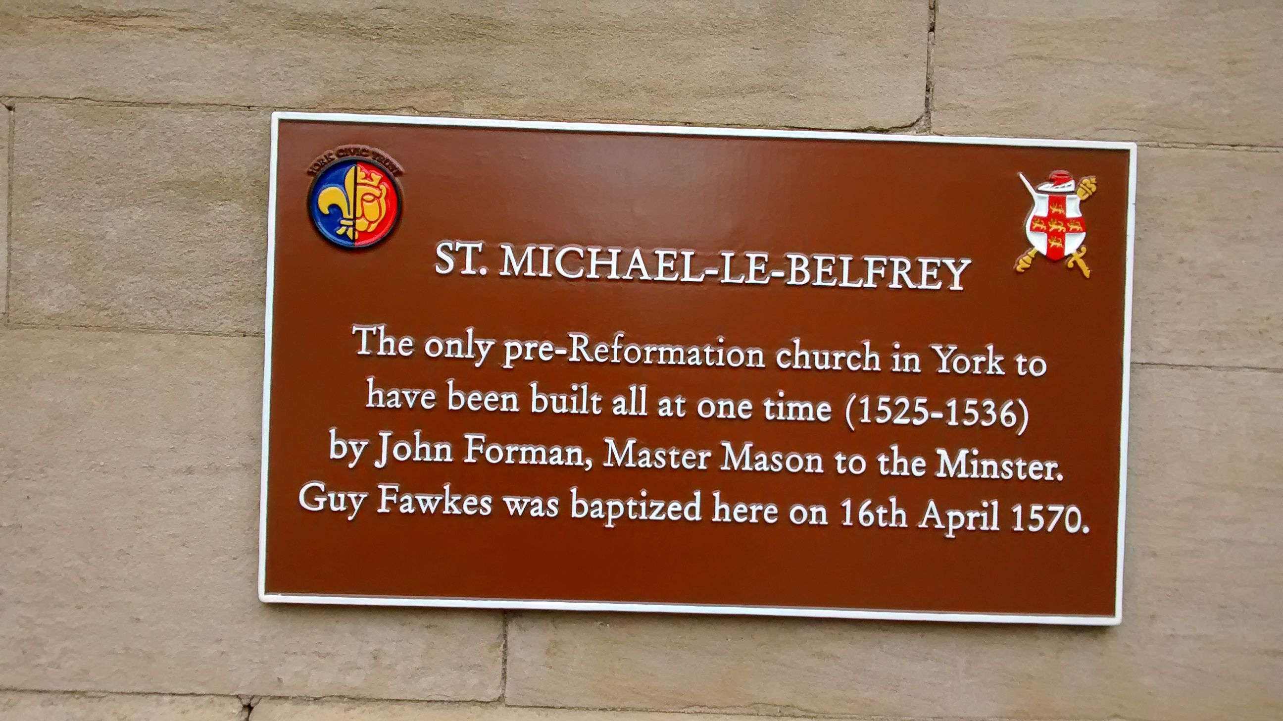 Plaque on church where Guy Fawkes was baptised in York