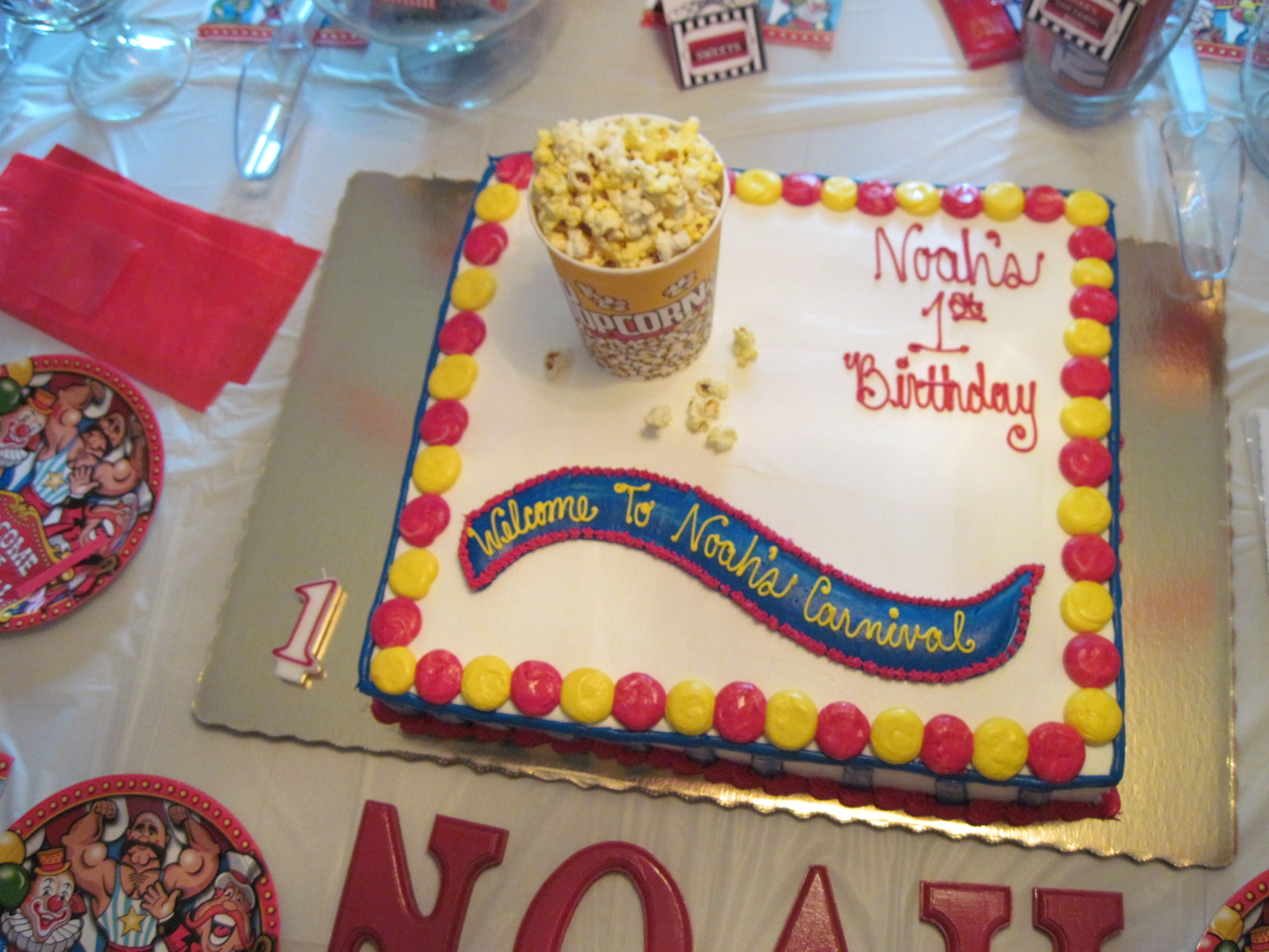 One Tier Publix Circus Party Cake Birthday Bash