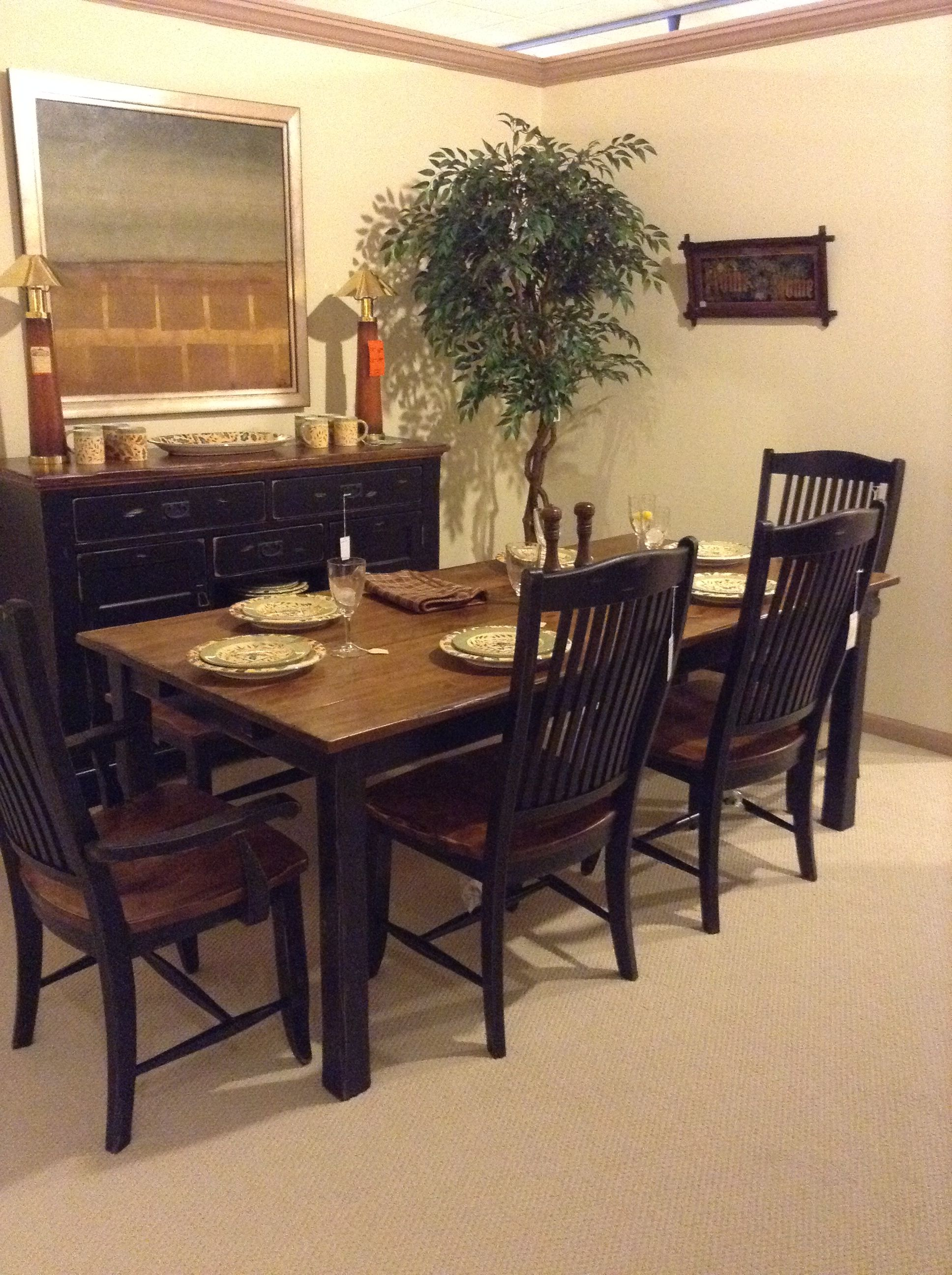 highly distressed two tone rustic feeling dining set from canadel rh pinterest com