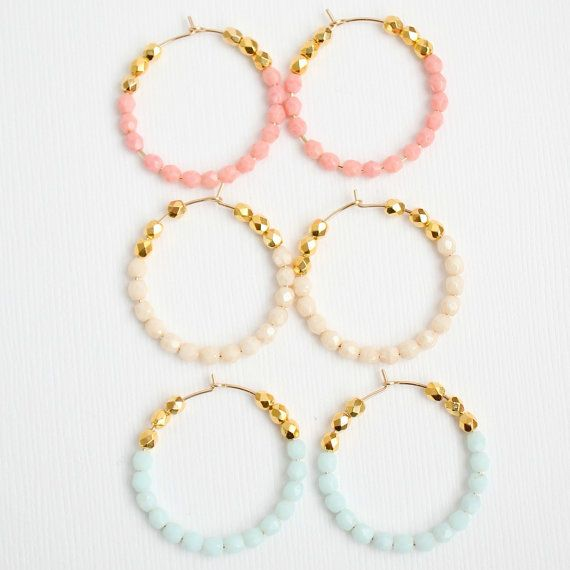 Photo of Pink and Gold Beaded Hoops, White bead hoops, Gold hoops, thin hoops, thin gold hoops, Pastel Earrings, gift for girlfriend, Gift for mom