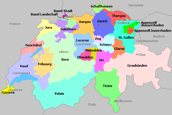 Cantons of Switzerland 20 cantons and 6 half cantons Switzerland