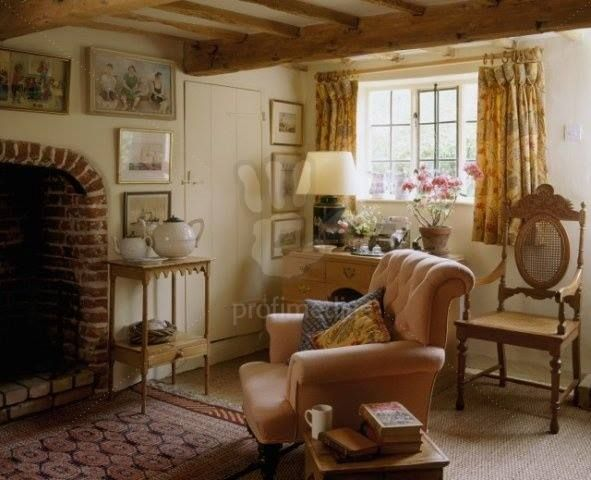 Country Cottage Sitting Room With Beamed Ceiling Brick Fireplace
